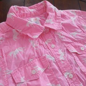 Joe Fresh 14/XL button down horse print 100 cotton